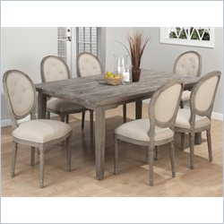 Jofran 7 Piece Rectangular Solid Oak Dining Set in Burnt Grey