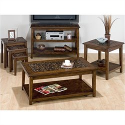 Jofran Baroque 4 Piece Coffee Table Set in Brown