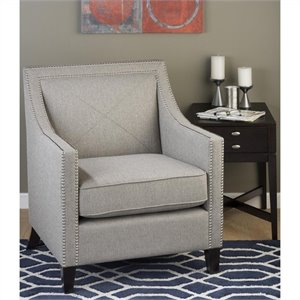 Jofran Upholstered Accent Luca Ashe Club Chair in Gray