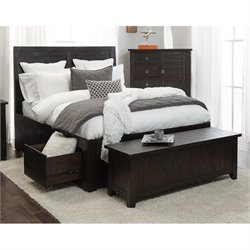 Jofran Kona Grove King Storage Bed with Drawers in Chocolate