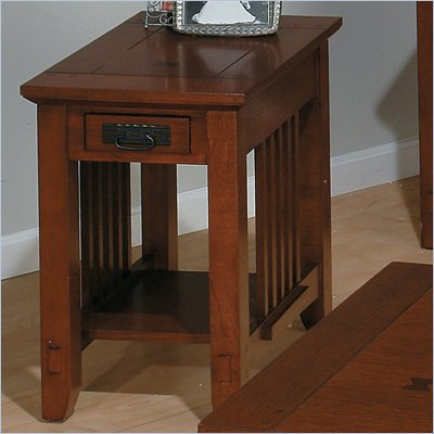 Jofran 036 Series Wood Chairside Table in Brown Mission Oak