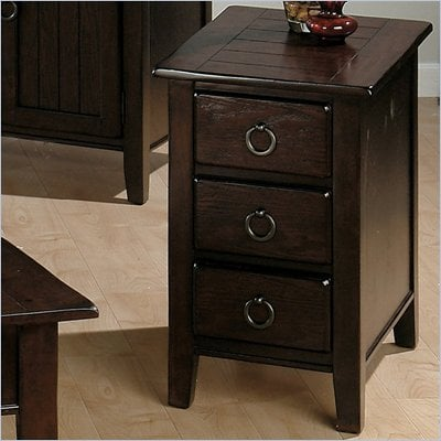 Jofran 081 Series Wood Chairside Table in Heirloom Oak