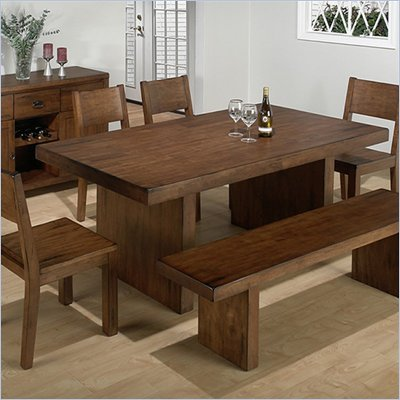 Jofran Fixed Casual Dining Table in Braeburn Rough Hewn Cherry Finish