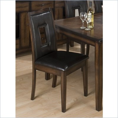 Jofran 431 Series Faux Leather Dining Side Chair in Oak (Set of 2)