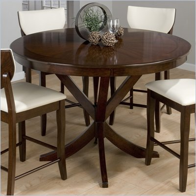 Jofran 433 Series Counter Height Round Dining Table in Satin Walnut