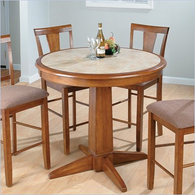 Jofran 3 Piece Counter Height Dining Set in Saddle Brown Oak