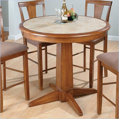 Jofran Round Counter Height Table in Saddle Brown Oak Finish