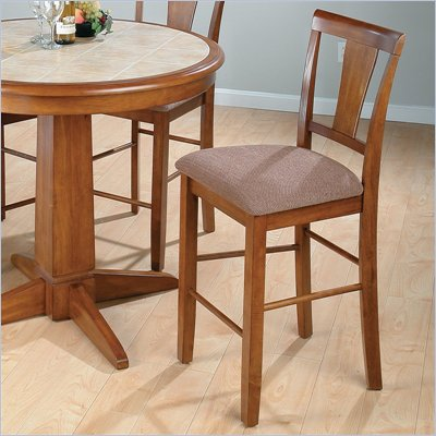 Jofran Tapered Back Counter Height Stool in Saddle Brown Oak (Set of 2)