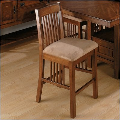 Jofran Mission Counter Height Stool in Saddle Brown Oak (Set of 2)