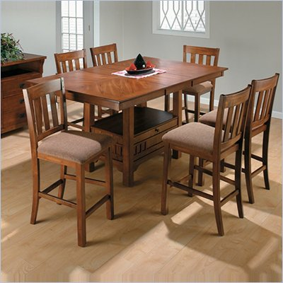 Jofran 5 Piece School House Counter Height Dining Set in Saddle Brown Oak