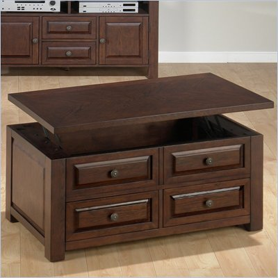 Jofran 484 Series Rectangular Wood Lift-Top Coffee Table in Ogden Oak