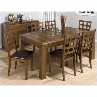 Jofran 737 Series 7 Piece Rectangular Dining Table Set in Walnut
