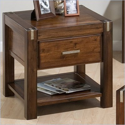 Jofran End Table with Drawer and Shelf in Rustic Loft Finish