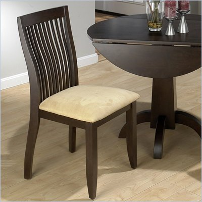 Jofran Vertical Slatback Wood Side Chair in Dark Chianti Finish (Set of 2)