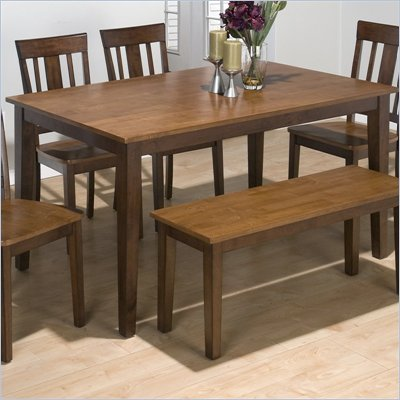 Jofran 5 Piece Rectangle Dining Set in Kura Espresso and Canyon Gold