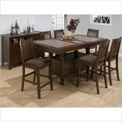 Jofran 976 Series 7 Piece Counter Height Dining Set in Caleb Brown