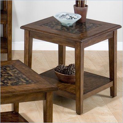 Jofran Baroque End Table with Mosaic Tile Inlay in Brown