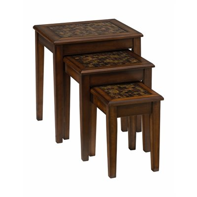 Jofran Baroque Nesting Chairside Table with Mosaic Tile Inlay in Brown