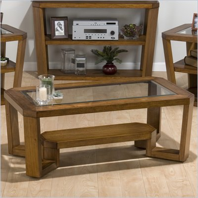 Jofran Ernie Cocktail Table with Glass Top and Casters in Elm