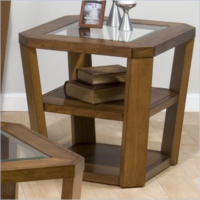 Jofran Ernie End Table with Glass Top in Elm