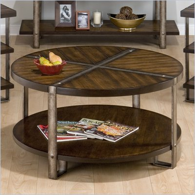 Jofran Malden Round Cocktail Table in Brown