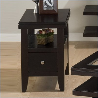 Jofran Marlon Chairside Table With Wood Top in Wenge Finish