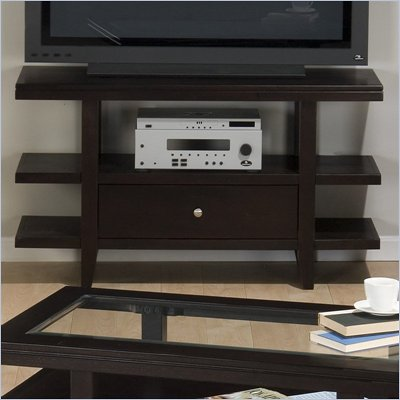 Jofran Marlon Rectangle Sofa Table TV Stand With Wood Top in Wenge Finish