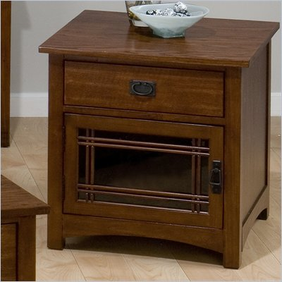 Jofran Mission Hill Square End Table with Drawer and Door in Oak