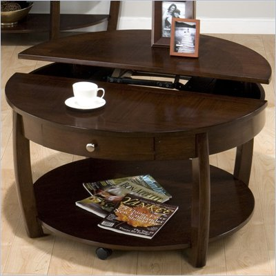 Jofran Riverside Round Lift-Top Cocktail Table in Brown Walnut