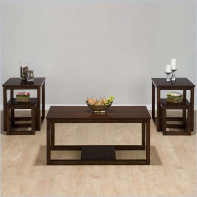 Jofran Suave Wood Top Cocktail Table 5 Piece Set in Cherry