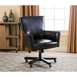 Abbyson Living Alexander Leather Office Chair in Black