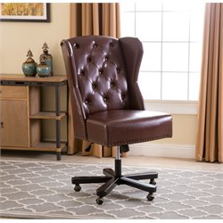 Abbyson Living William Leather Office Chair in Light Brown