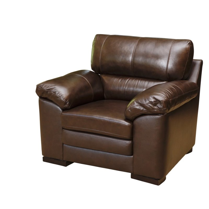Abbyson Living Torrena Top-Grain Leather Armchair in Brown