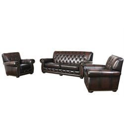 Abbyson Living Kaylee 3 Piece Leather Sofa Set in Brown