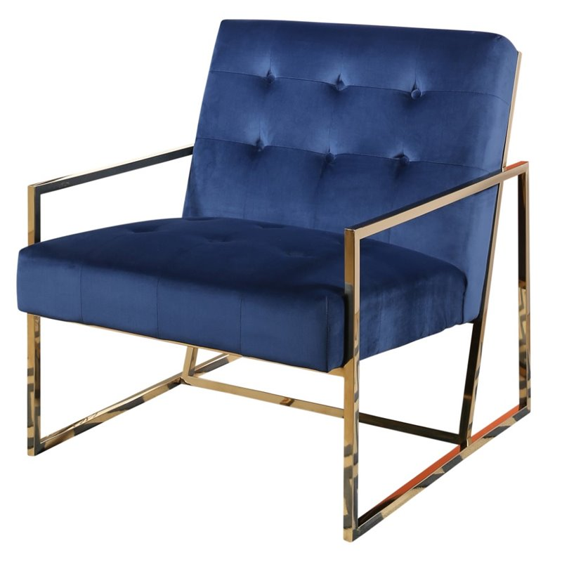 Abbyson Living Taylor Stainless Steel and Velvet Armchair in Navy