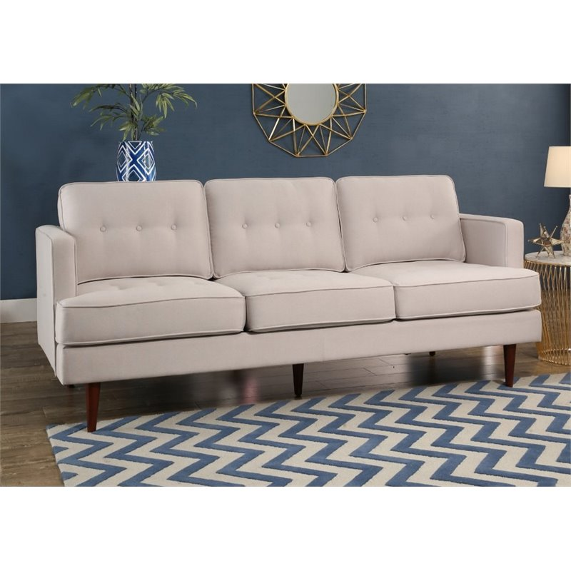 Abbyson Living Justin Mid Century Tufted Sofa in Ivory