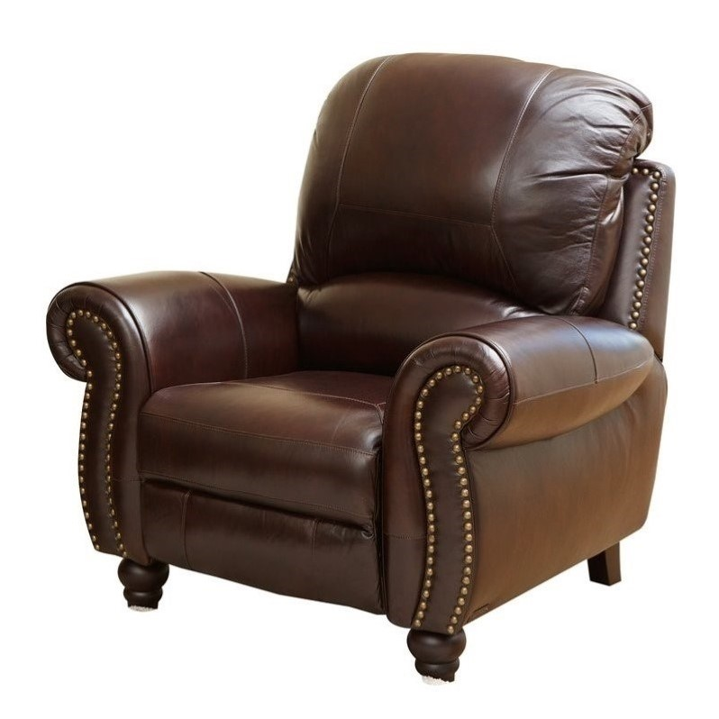 Abbyson Living Herzina Leather Pushback Reclining Armchair