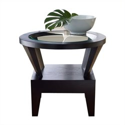 Abbyson Living Caslee Round Glass Table in Espresso