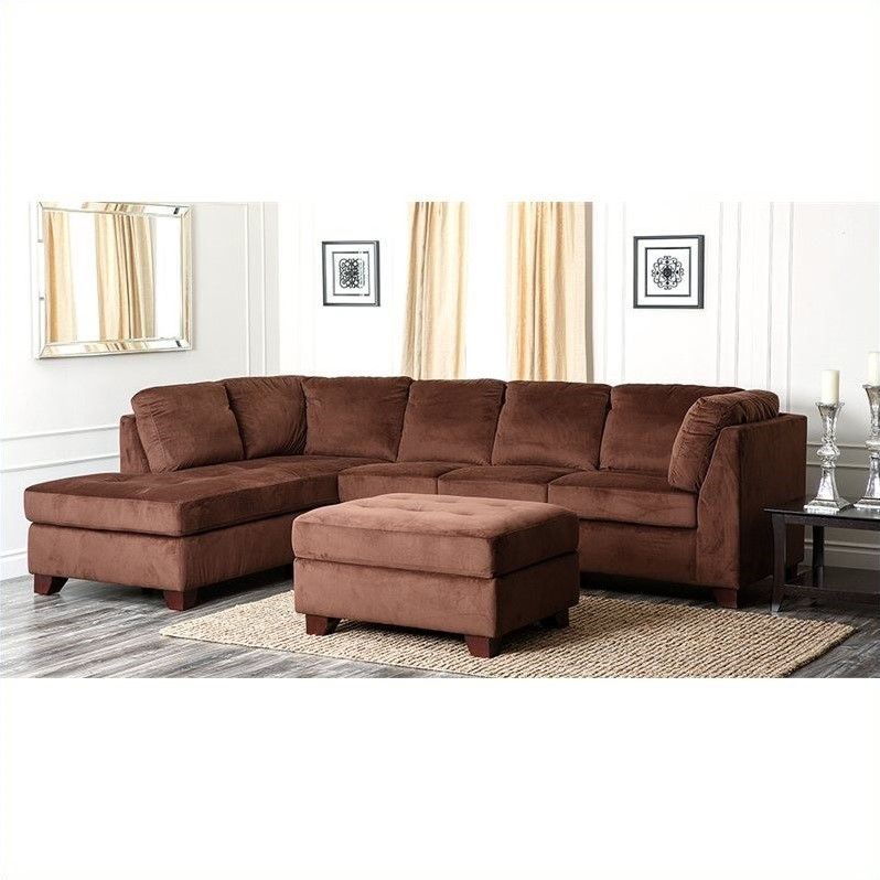 Swell Abbyson Living Derlena Microsuede Sectional Sofa In Dark Ibusinesslaw Wood Chair Design Ideas Ibusinesslaworg