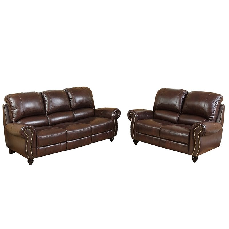 Abbyson Living Herzina 2 Piece Leather Pushback Reclining Sofa Set