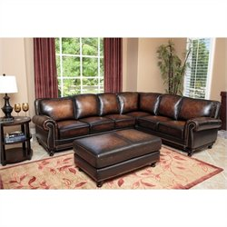 Abbyson Living Nizza Woodtrim 3 Piece Leather Sectional Sofa Set in Brown