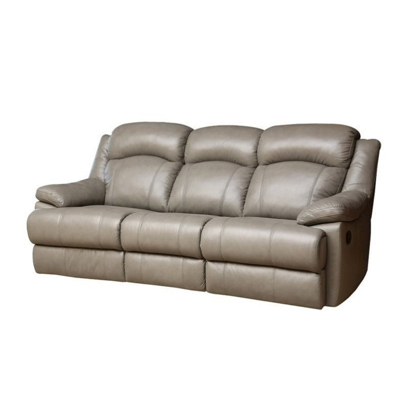 Abbyson Living Warwick Leather Reclining Sofa in Gray