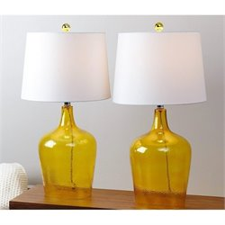 Abbyson Living Delmore Glass Table Lamp in Amber (Set of 2)