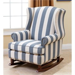 Abbyson Living Chelsie Fabric Rocking Chair in Blue and Ivory