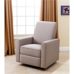Abbyson Living Hampton Nursery Swivel Glider Recliner Chair in Taupe