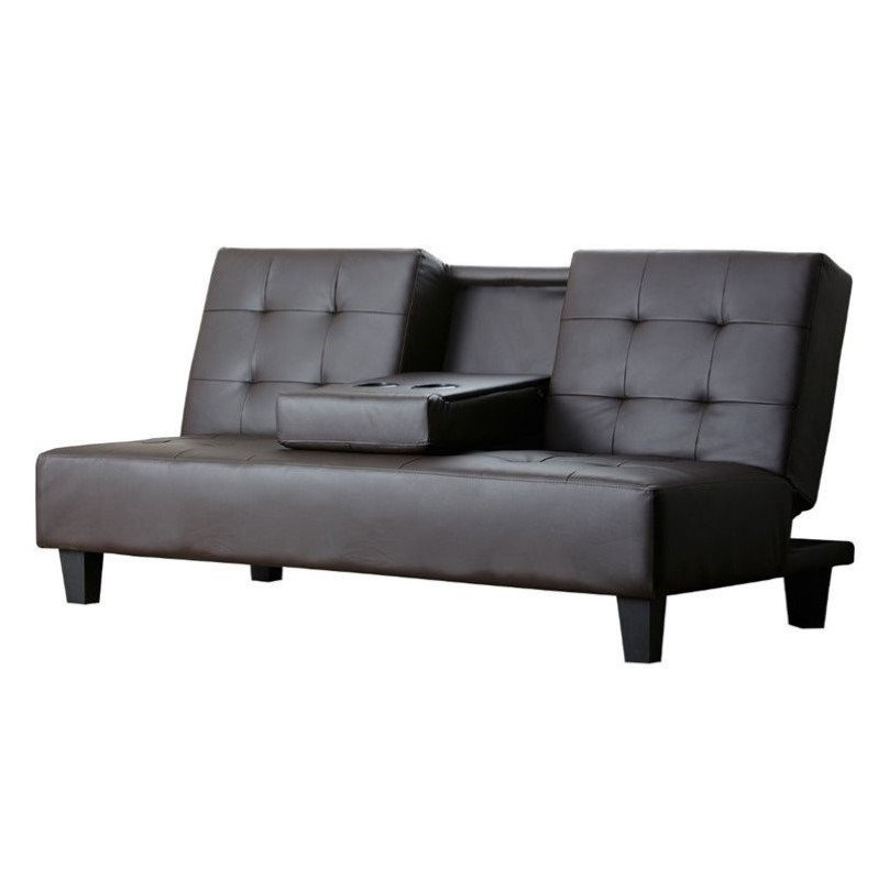 Abbyson Living Bellagia Leather Sleeper Sofa in Brown