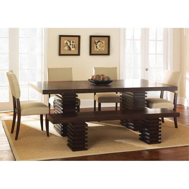 Steve Silver Briana Dining Table with 18 Leaf in Espresso Cherry
