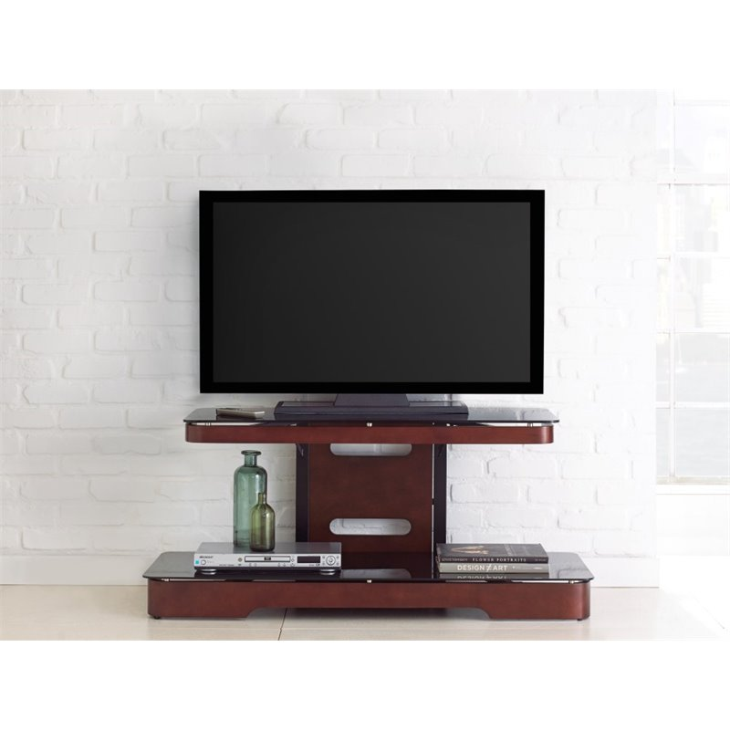 Steve Silver Kirkman TV Stand with Mounting Bracket in Medium Cherry
