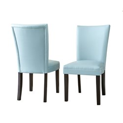 Steve Silver Matinee Bonded Leather Dining Chair in Aqua