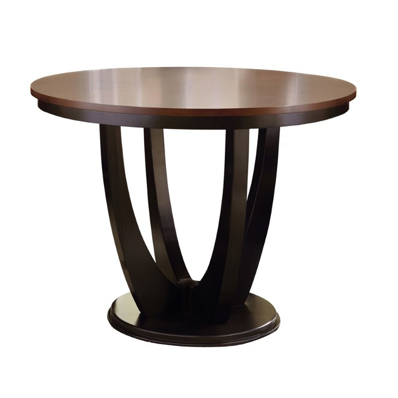 Steve Silver Oakton Round Dining Table in Medium Cherry and Black